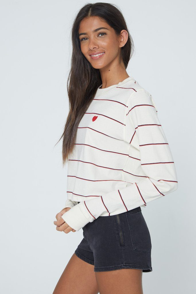 Casual striped tee with heart patch is the perfect relaxed V-Day look
