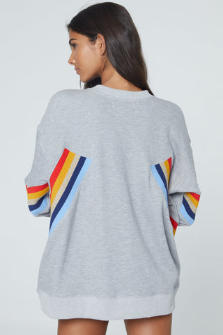 Heart Stripe Crew Neck Sweatshirt in Heather Grey