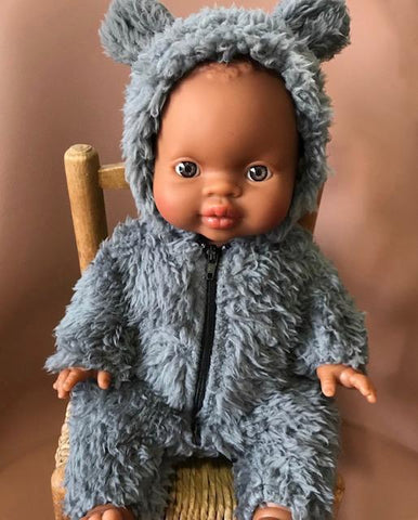 Winnie's Jumpsuit in Faux Fur - Gray