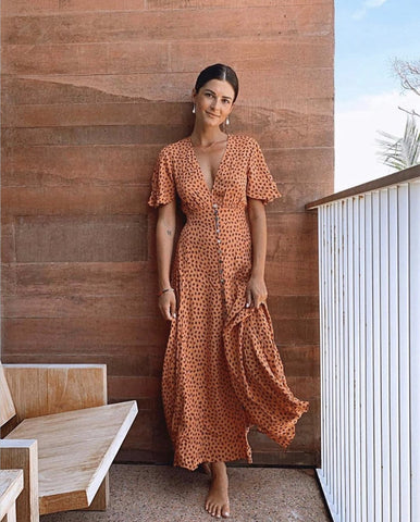 Stella Leopard Maxi Dress - Orange Leopard