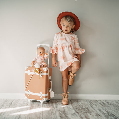 Organic Ruffle Dress - Pink Sand