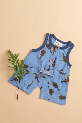 Baby Romper in Denim Guitar from Wander & Wonder