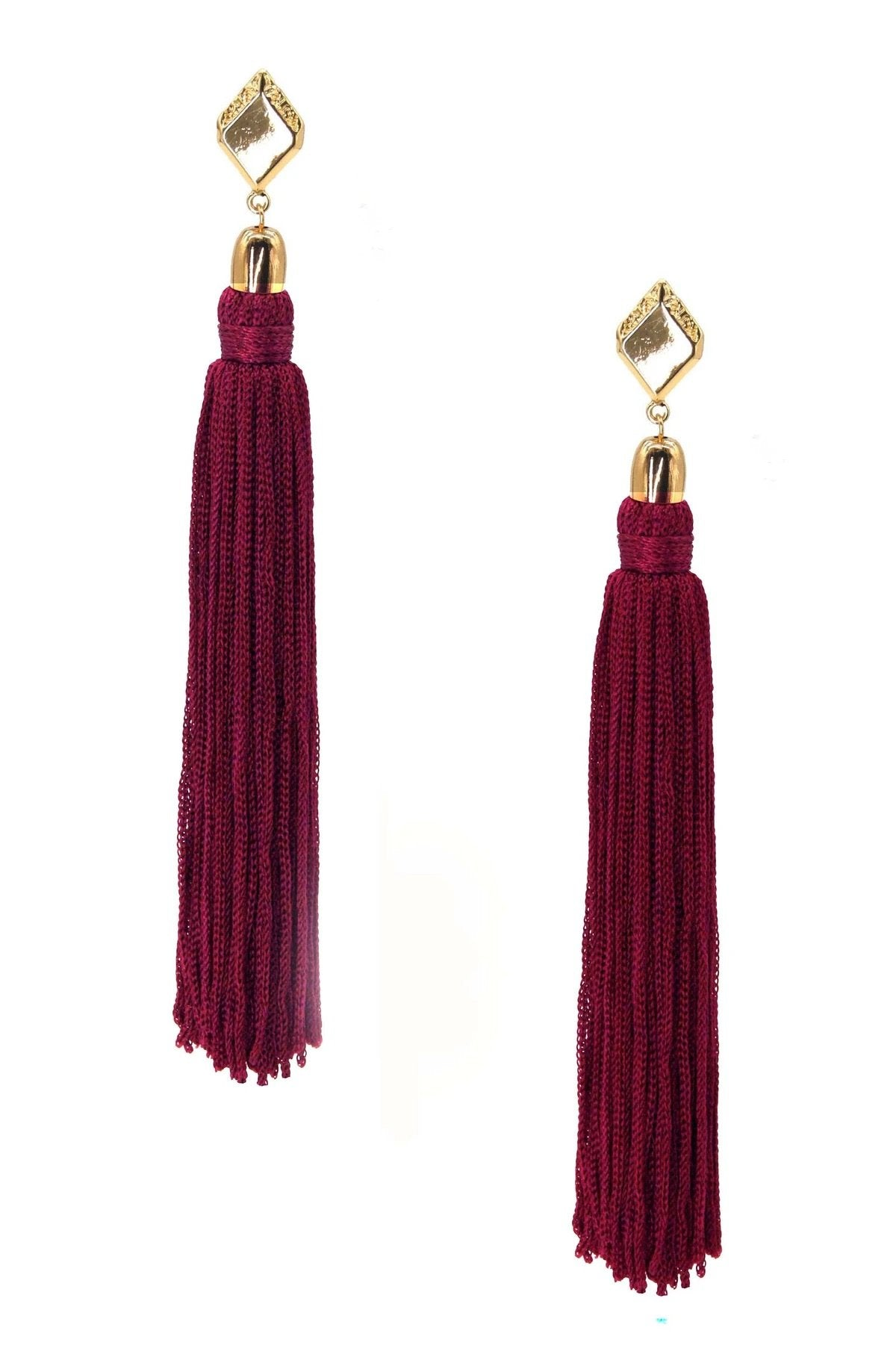 Load image into Gallery viewer, Mon Cheri Tassel Earrings in Burgundy and Gold