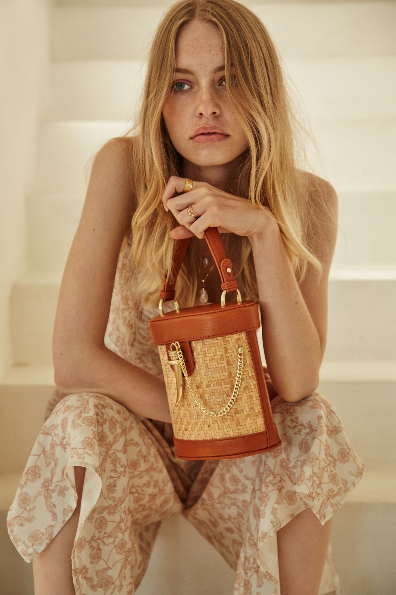 Sancia Camillo Bucket Bag in Cognac Rattan