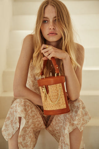 Camillo Bucket Bag - Cognac Rattan