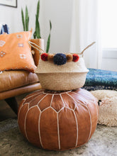 Load image into Gallery viewer, Moroccan Floor Pouf- Saddle Brown by Moon Water Co.