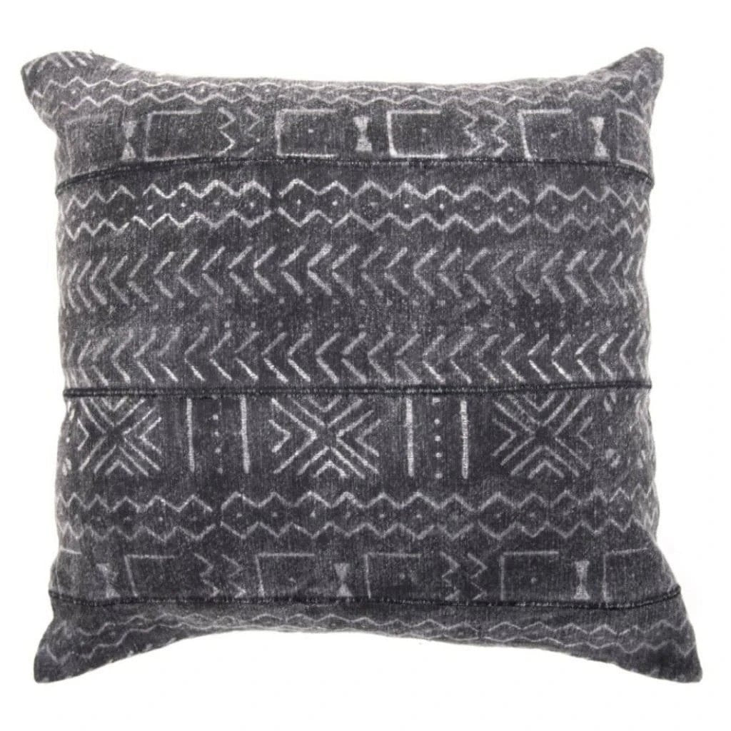 Indian Hand Blocked Mud Cloth, Faded Black