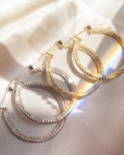 Load image into Gallery viewer, Pave Skinny Amalfi Hoops - Gold | Luv AJ - Holiday 2020 | Women's Jewelry