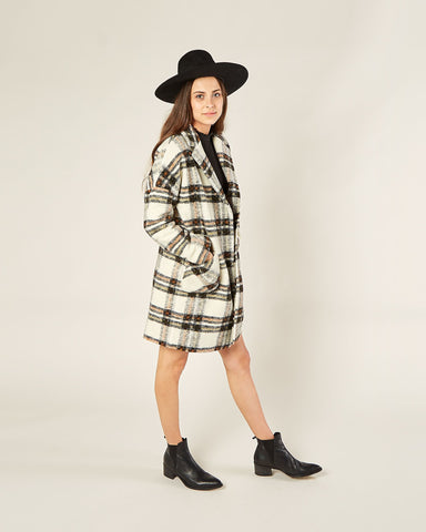 Womens Plaid Longline Coat - Natural