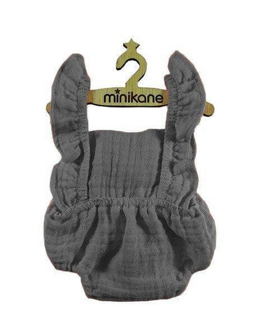 MiniKane Little Doll Gauze Retro Lou Ruffle Romper - Dark Grey