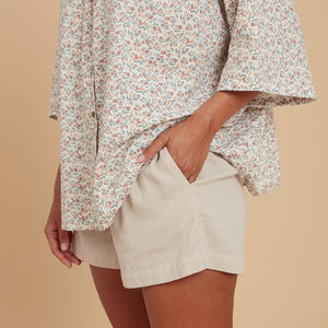 floral quarter sleeve shirt