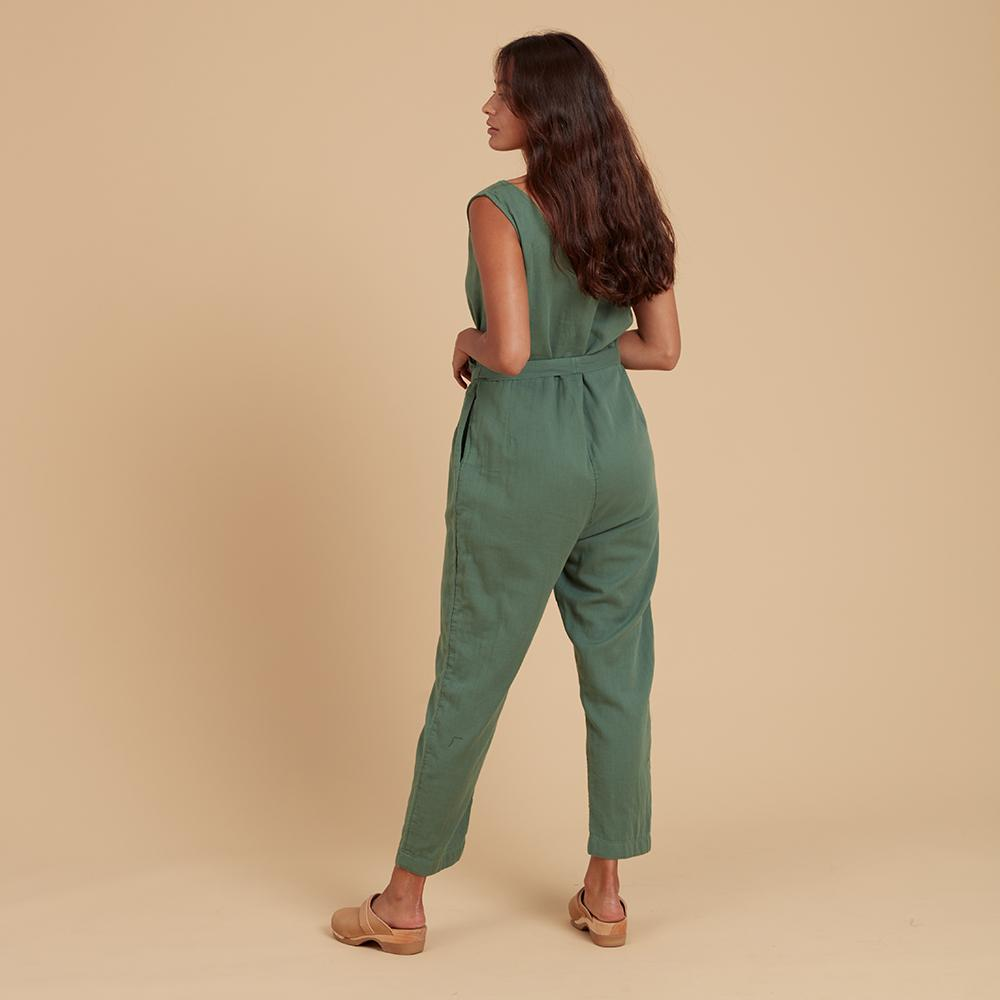Load image into Gallery viewer, Green jumpsuit back view