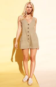 khaki button up playsuit by Minkpink