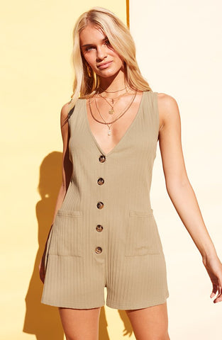 Button Up Playsuit in Khaki