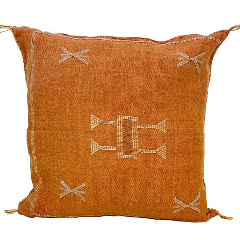 Moroccan Cactus Silk Pillow, Red Curry
