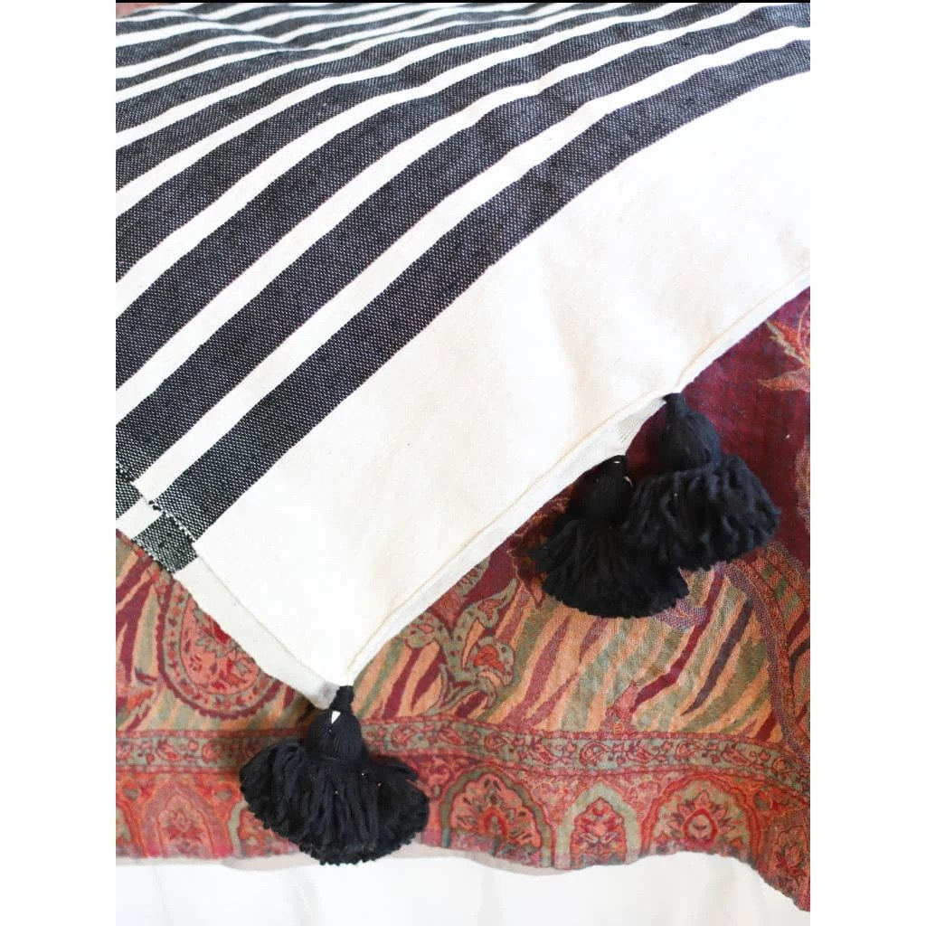 Load image into Gallery viewer, Moroccan Pom Blanket - Ebony
