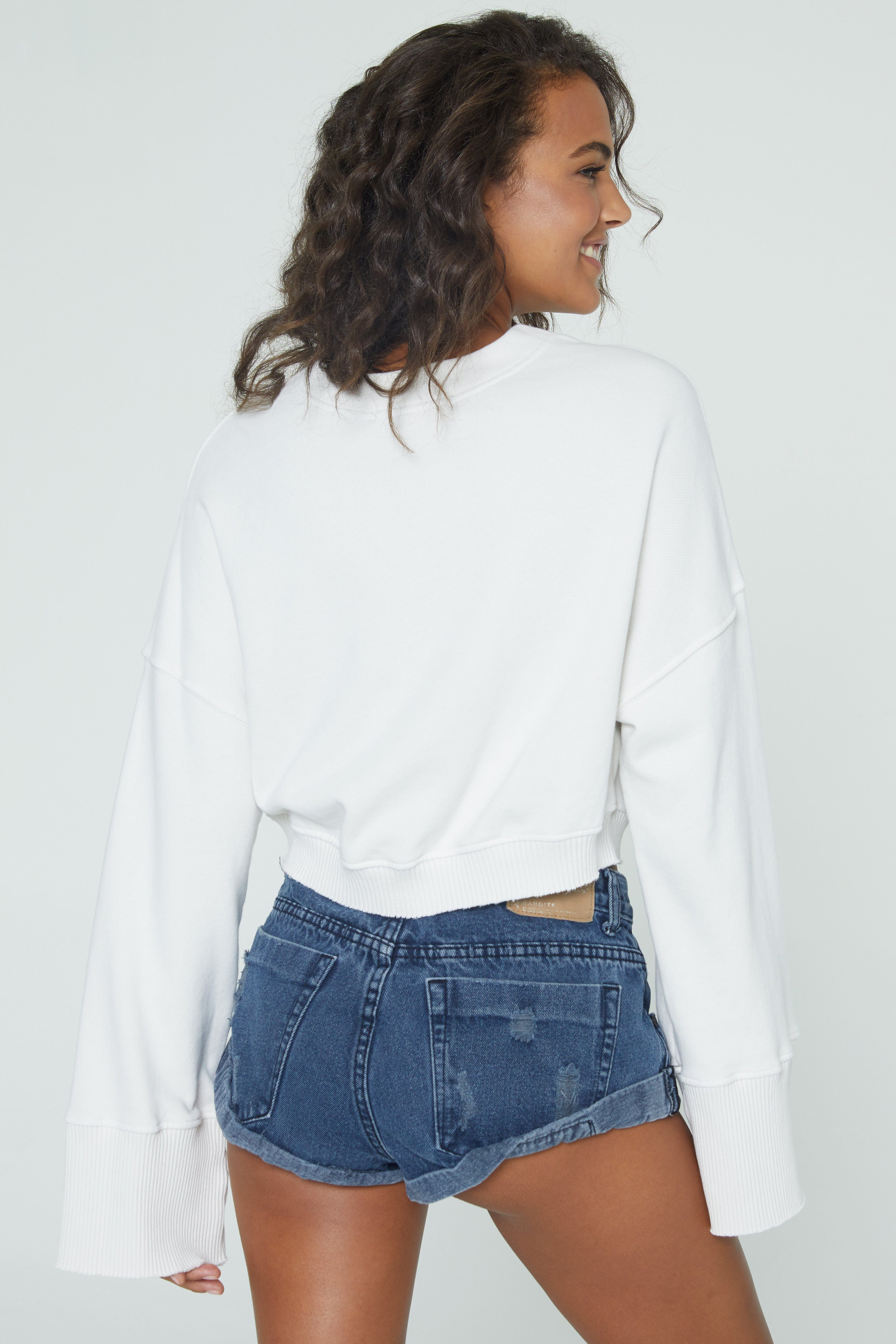 Load image into Gallery viewer, Cropped Nadia Wide Sleeve Crew