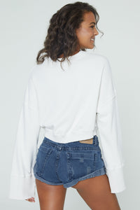 Cropped Nadia Wide Sleeve Crew