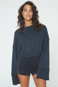 Nadia Wide Sleeve Crew - Vintage Black