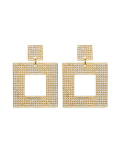 The Pave Box Hoops- Gold