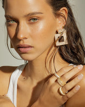 Load image into Gallery viewer, The Pave Box Hoops- Gold