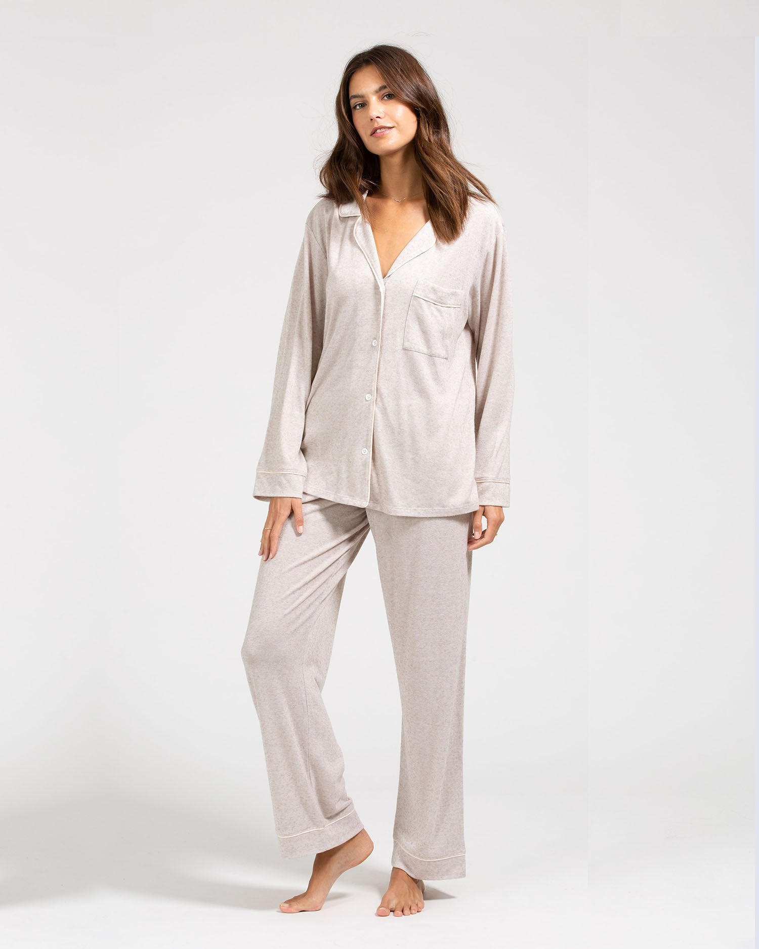 Load image into Gallery viewer, Bobby Long PJ Set - Oatmeal Heather / Bellini | Eberjey - Giftables II 2020 | Women's Socks