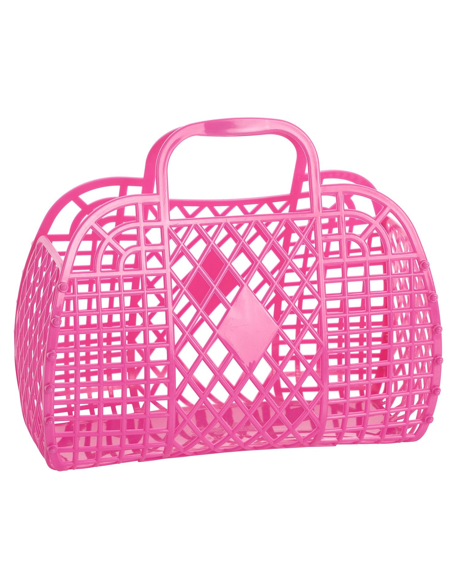 Load image into Gallery viewer, Retro Basket- Large Berry Pink | Sun Jellies - Women's Handbags