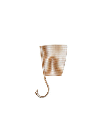 Ribbed Pixie Bonnet Walnut Stripe