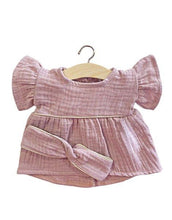 Load image into Gallery viewer, Daisy dress in Lilac double gauze cotton, Gold (light) piping and headband