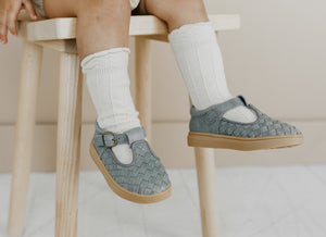 Leather Woven T-Bar | Color 'Slate Grey' | Soft Sole - Consciously Baby Shoes | Baby & Toddler Shoes