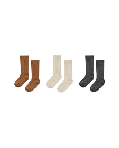 Knee Sock Set of Three - Cinnamon, Natural, Black