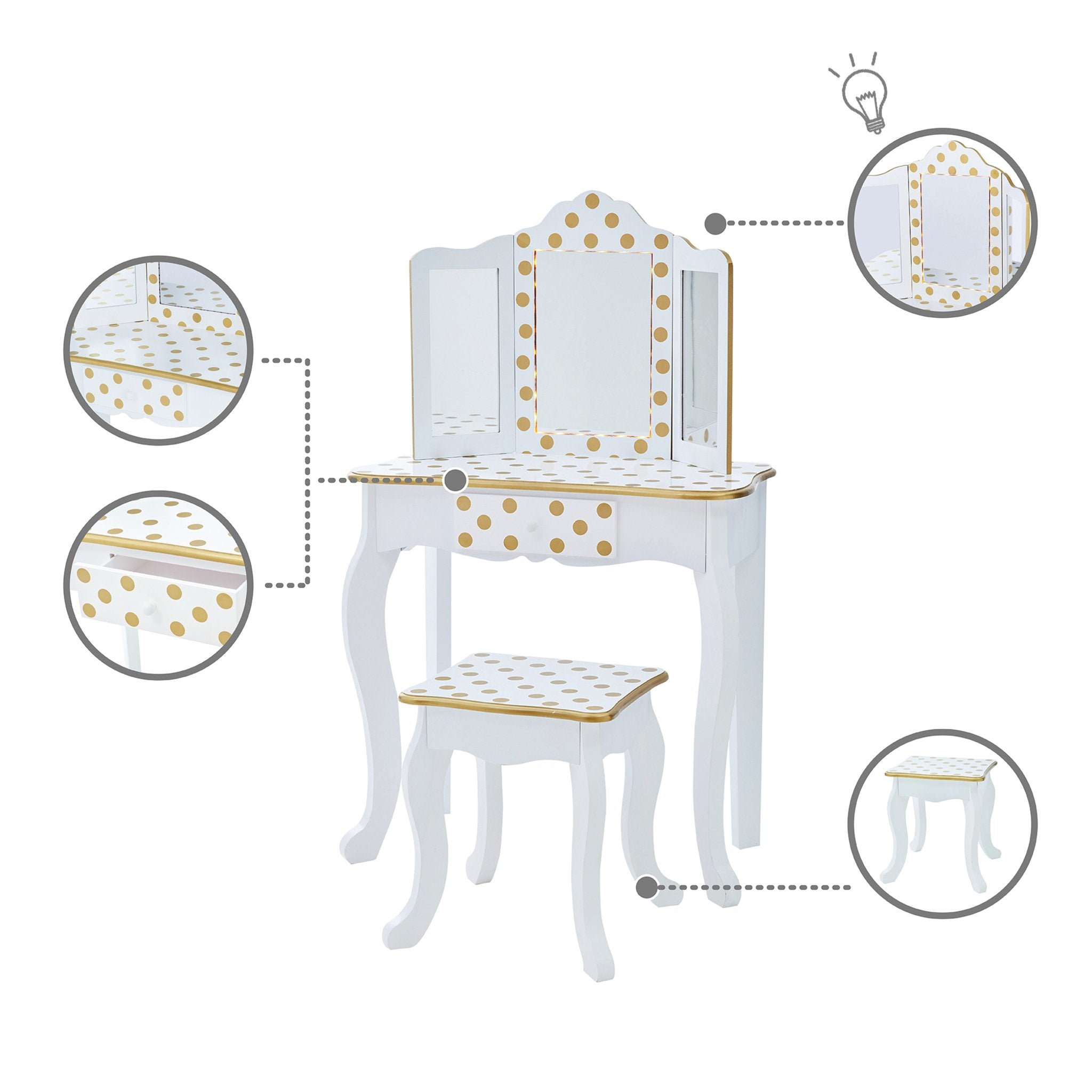 Load image into Gallery viewer, Fantasy Fields - Fashion Polka Dot Prints Gisele Play Vanity Set with LED Mirror Light - White / Gold | Teamson Kids - Kids Furniture