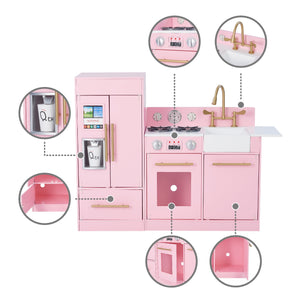 Little Chef Chelsea Modern Play Kitchen - Pink / Gold | Teamson Kids - Costume + Pretend Play - Play Kitchen + Food