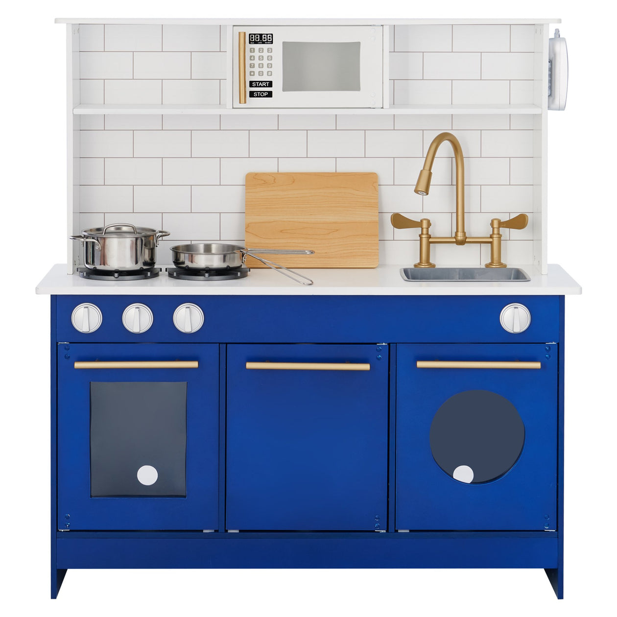 Little Chef Berlin Modern Play Kitchen - White / Blue | Teamson Kids - Costume + Pretend Play - Play Kitchen + Food