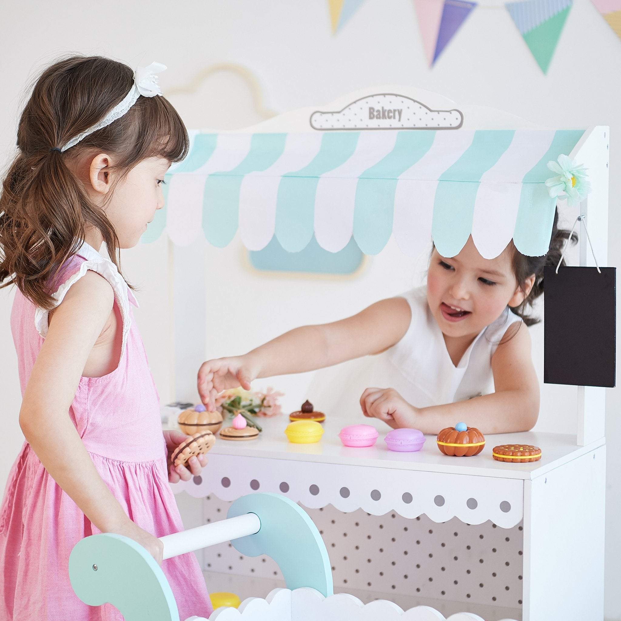 Load image into Gallery viewer, My Dream Bakery shop Dessert Stand - White / Petrol | Teamson Kids - Play Kitchen + Food