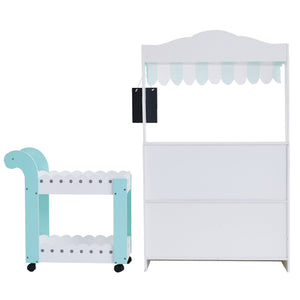 My Dream Bakery shop Dessert Stand - White / Petrol | Teamson Kids - Play Kitchen + Food