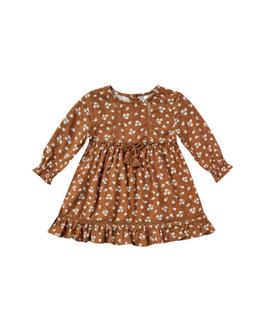 Girls Ditsy Isabella Dress - Cinnamon