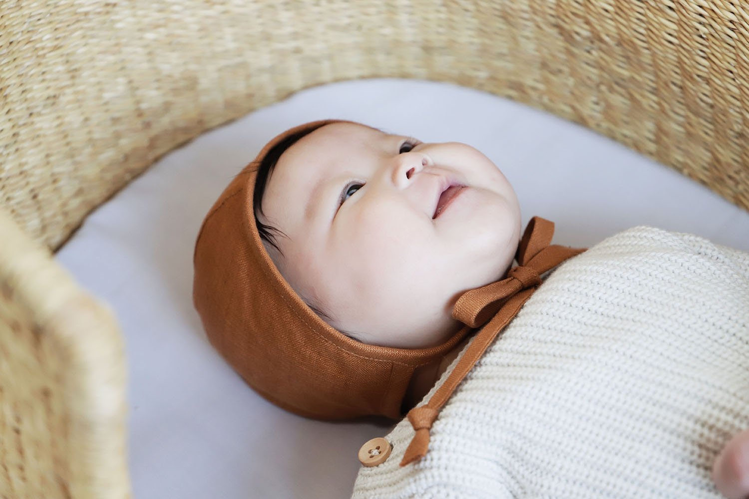 Load image into Gallery viewer, Rust Linen Bonnet | Briar Baby - Newborn Baby Headwear