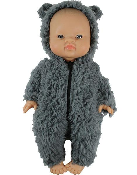 Load image into Gallery viewer, Winnie's Jumpsuit in Fake Fur - Gray | Organic Doll Clothing