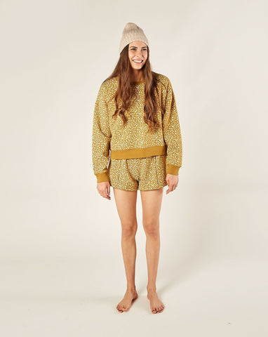 Womens Golden Berry Sweat Short - Goldenrod
