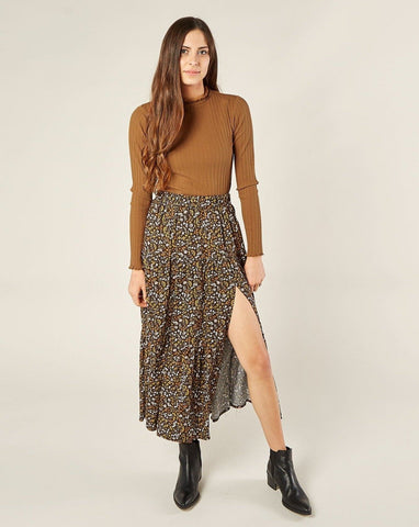 Women's Tiered Midi Skirt - Dark Floral