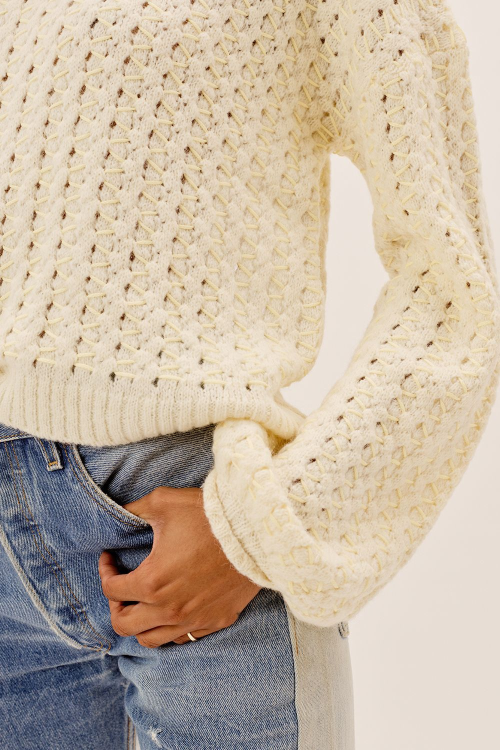 Load image into Gallery viewer, Dawn Hi Low Pullover - Ivory | For Love and Lemons - Women's Clothing