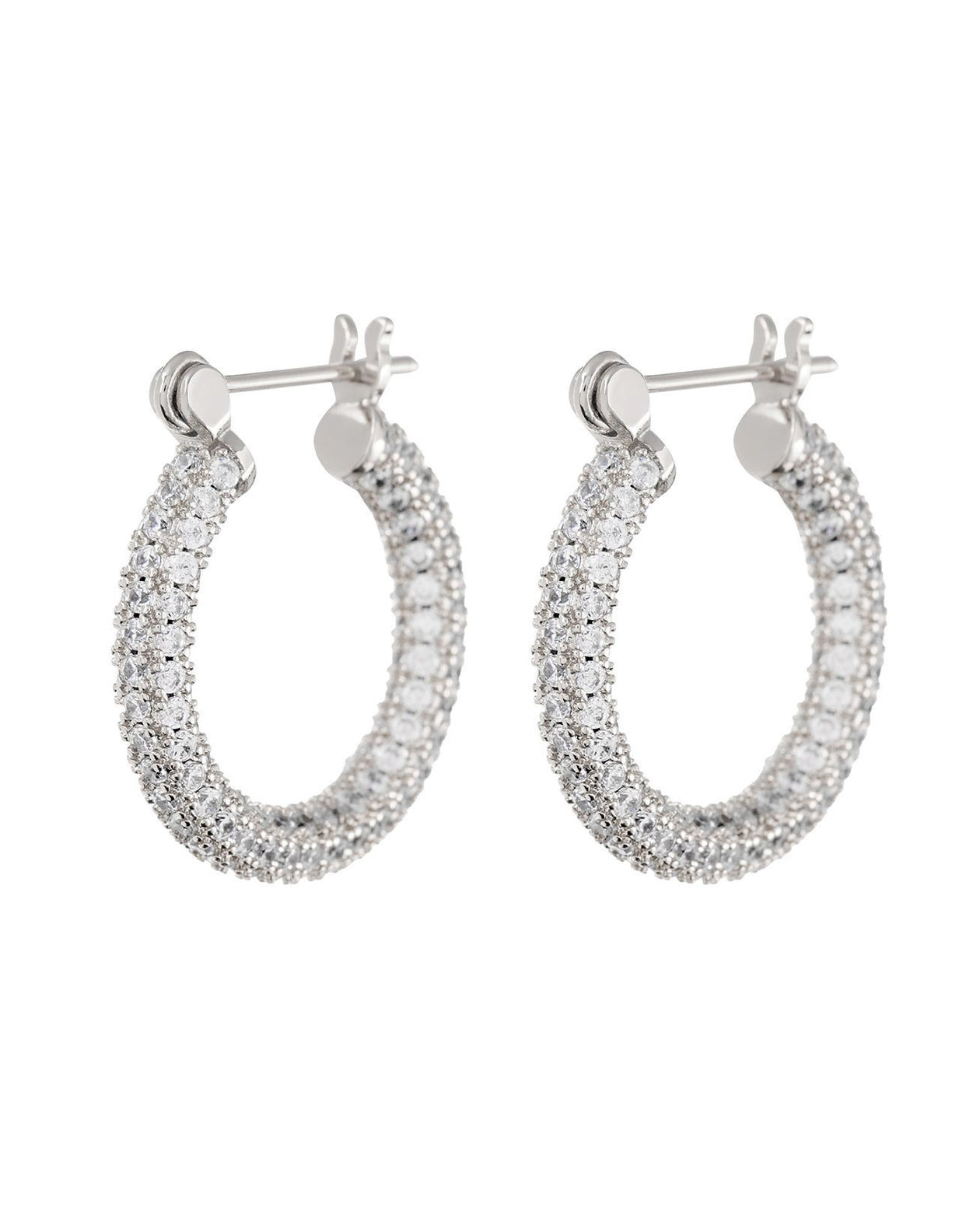 Pave Baby Skinny Amalfi Hoops - Silver