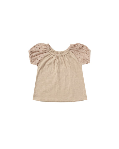 Girls Puff Sleeve Tee - Oat