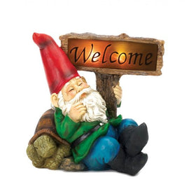 Welcome Gnome Solar Light Statue - G Street Furniture Rockville Free delivery maryland dc virginia