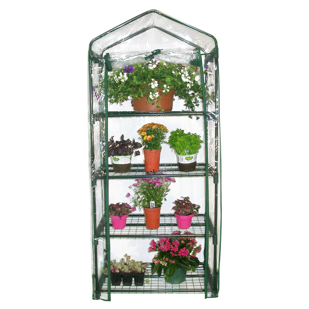4-Tier Growing Rack Planter Stand Greenhouse with Steel Frame