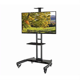 Mobile TV Stand Adjustable Height TV Cart for up to 65-inch TV