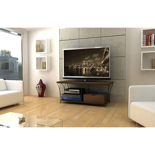 2-Tier TV Stand in Mocha / Black Steel