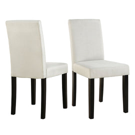 Set of 2 Modern Beige Fabric Cushion Dining Chairs with Black Wood Legs