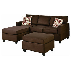 Reversible 3-Piece Sectional Sofa Set in Chocolate Microfiber